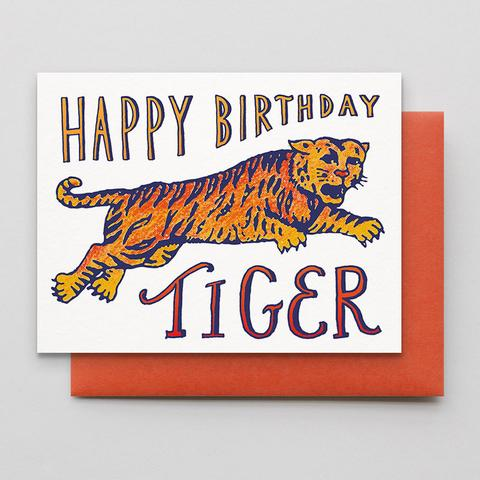Birthday Tiger Letterpress Greeting Card