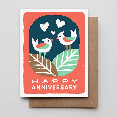 Happy Anniversary Birds Letterpress Card