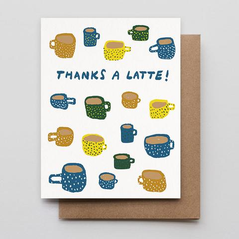 Thanks A Latte Letterpress Greeting Card