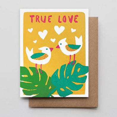 Tropical Bird Love Letterpress Greeting Card
