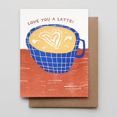 Love You a Latte Letterpress Card