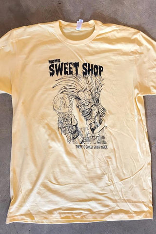 Mom's Sweet Shop Cramps Tee- Yellow