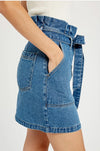 Paperbag Waist Denim Mini Skirt
