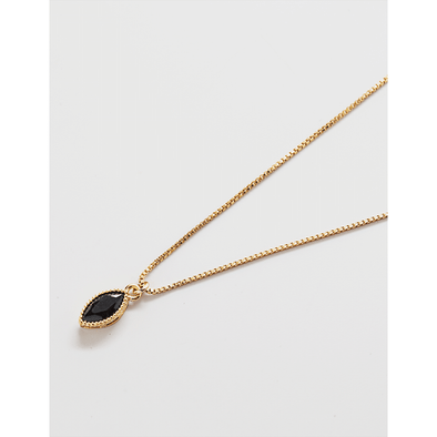 Black & Gold Marquise Drop Necklace