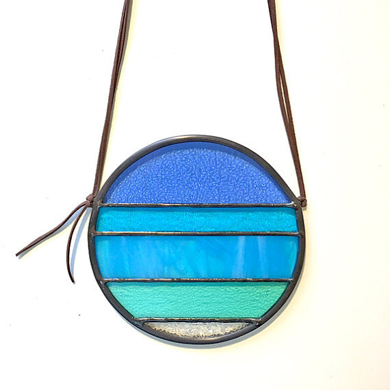 Seasonal Sun Stained Glass- Blue