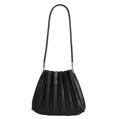 Carrie Pleated Shoulder Bag- Black