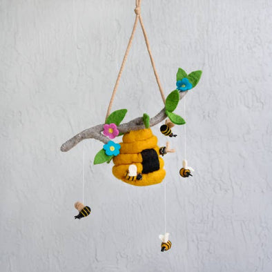Felted Beehive Mobile