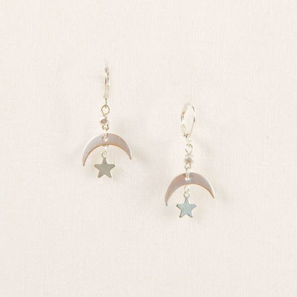Moon & Star Earrings- Silver or Gold
