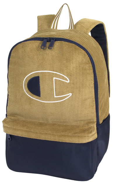 Champion Textile Corduroy Backpack- Tan/Navy