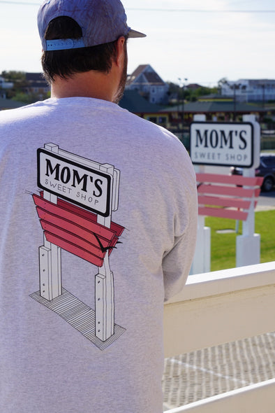 Mom's Sign Sketch L/S Tee- Light Ash Grey