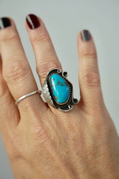 Vintage Navajo Sterling Fern & Turquoise Ring Size 6
