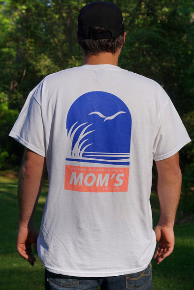 Mom's Coastal Preserve Tee- White- Blue/Coral