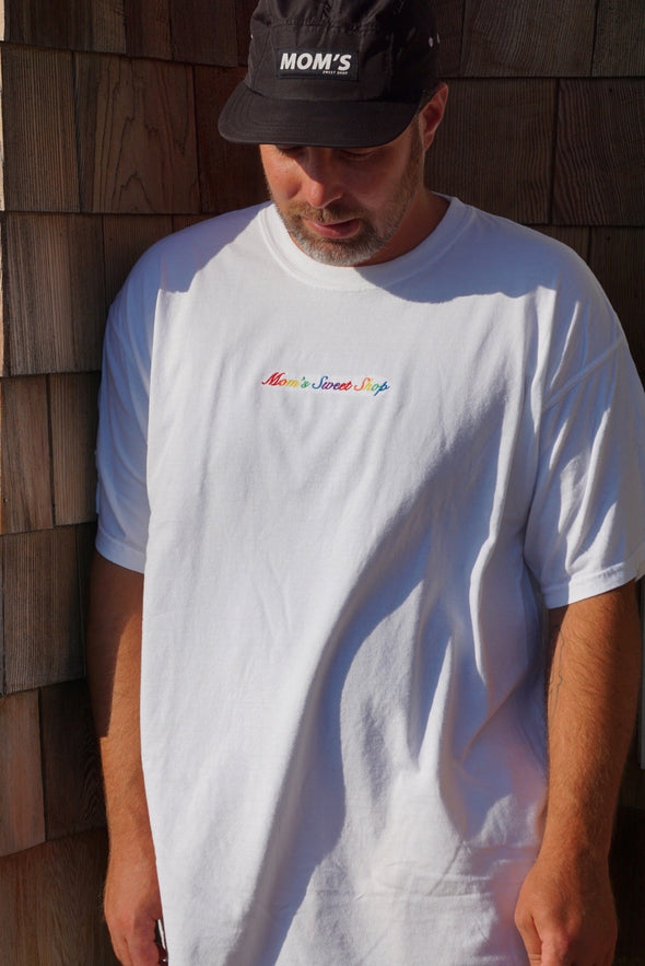 Mom's Embroidered Script Logo Tee- White/Rainbow