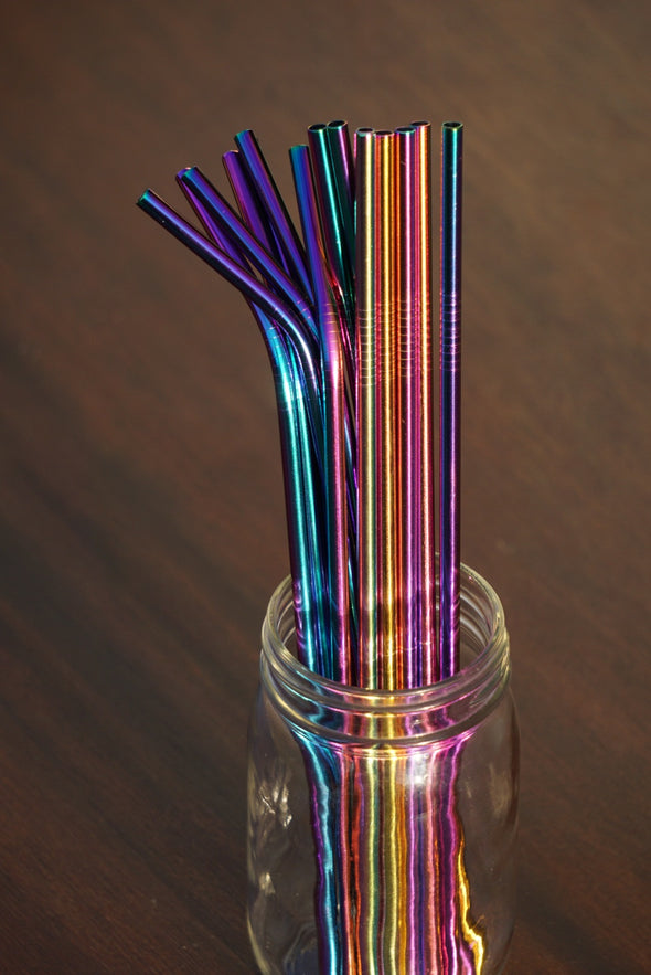 "1 Reusable 10.5"" Stainless Steel Drinking Straw- Rainbow"