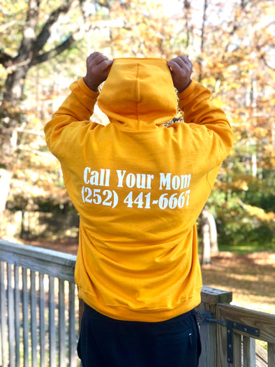 Mom's Call Your Mom Hooded Sweatshirt- Gold