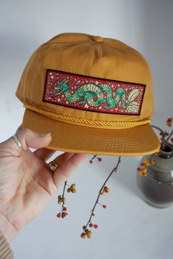 Mom's Sugar Dragon Trucker Snapback- Gold