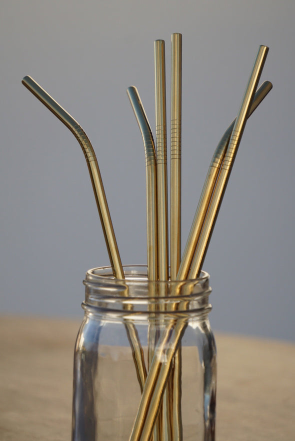 "1 Reusable 10.5"" Stainless Steel Drinking Straw- Gold"