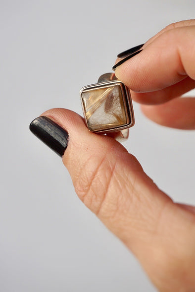 Vintage Sterling Silver & Rutilated Quartz Ring Size 9