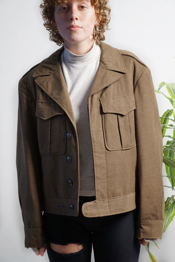 Vintage 1940's WWII Era Wool Cropped Army Coat