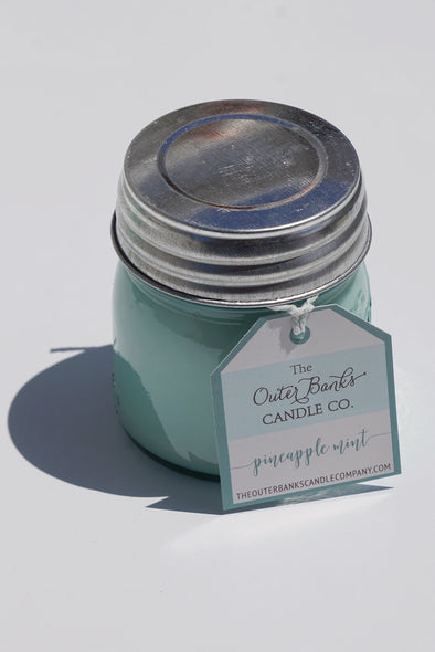 Aqua Ball Jar Candle 8oz- Pineapple Mint