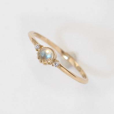 Merewif Joyful Eyes Ring- Moonstone, Size 6
