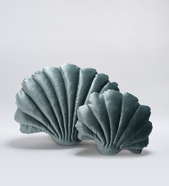 Shell Pillow- Small Luxe Velvet- Pine
