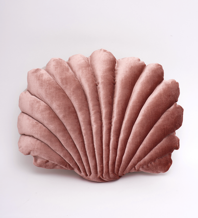 Large Velvet Shell Pillow- Rust Pink