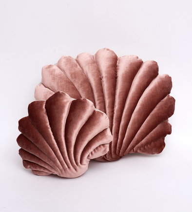 Shell Pillow- Small Velvet- Rust Pink