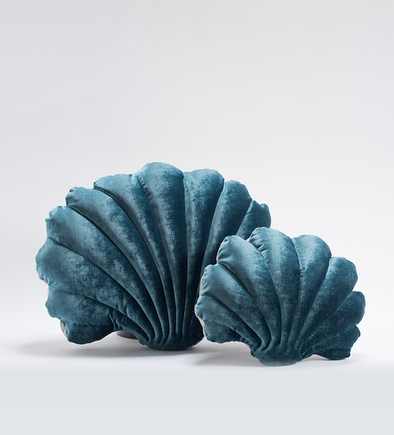 Small Velvet Shell Pillow- Teal