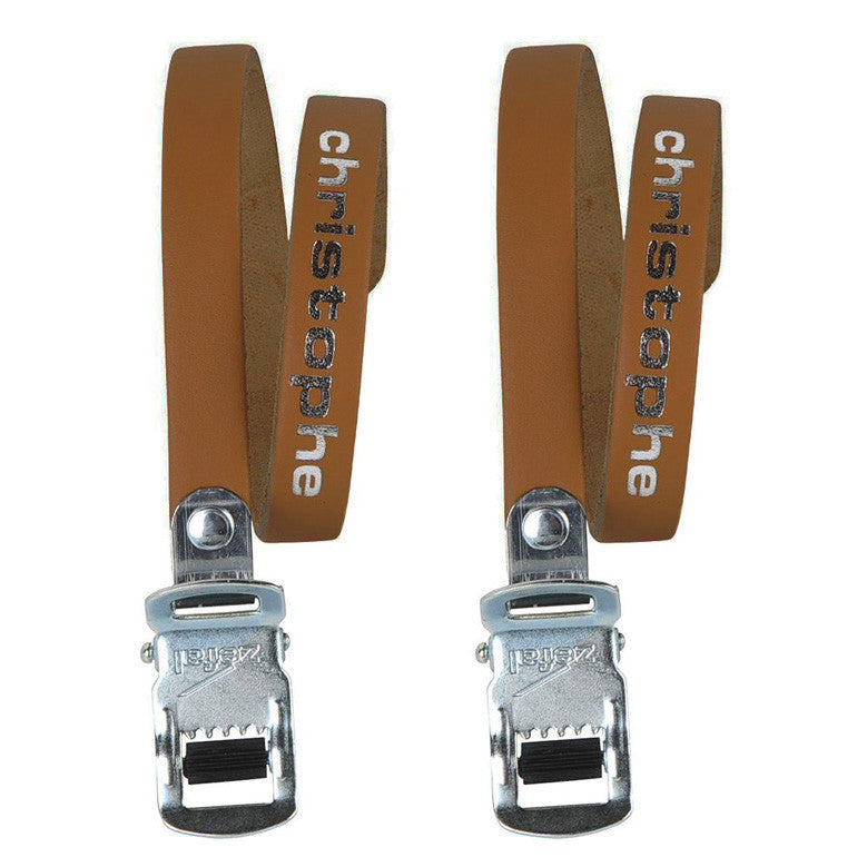 Christophe Brown Leather Cycle Toe Clip Straps
