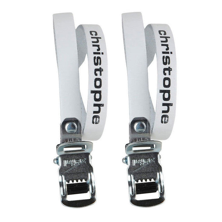Christophe White Leather Cycle Toe Clip Straps