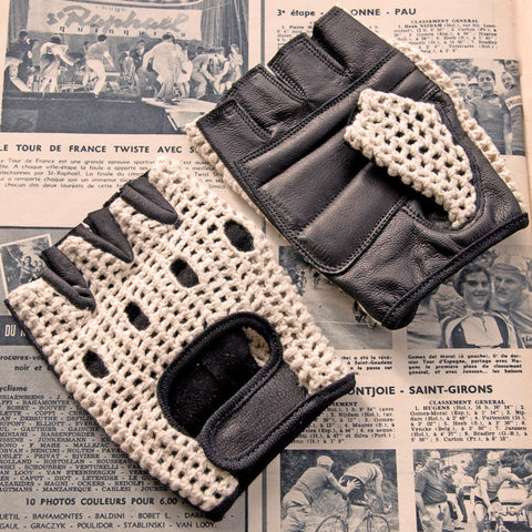 Ivory & Black Leather Cycling Gloves