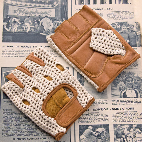 Ivory & Tan Leather Cycling Gloves