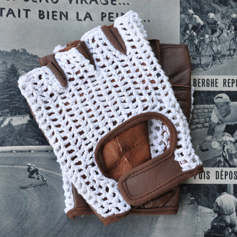 White & Brown Crochet Leather Cycling Gloves