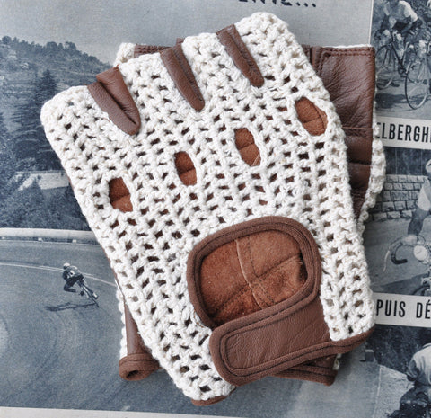 Ivory & Brown Crochet Leather Cycling Gloves