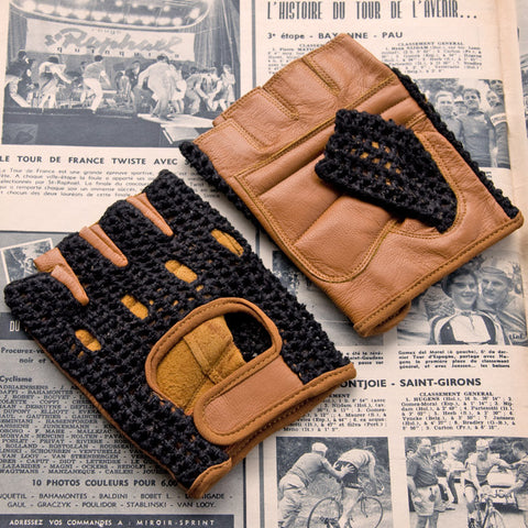 Black & Tan Leather Cycling Gloves