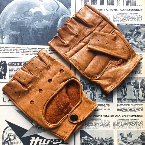 Tan Full Leather Cycling Gloves