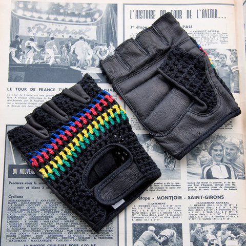 World Champion Black Leather Cycling Gloves
