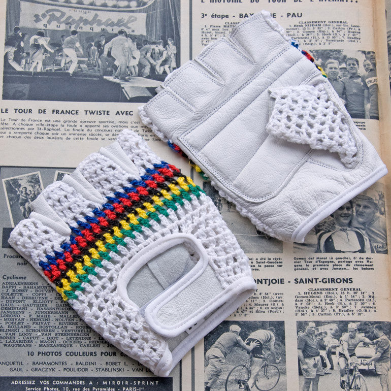 World Champion White Leather Cycling Gloves