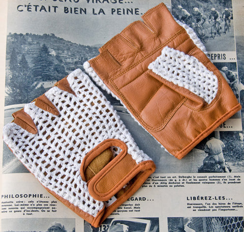 White & Tan Leather Cycling Gloves