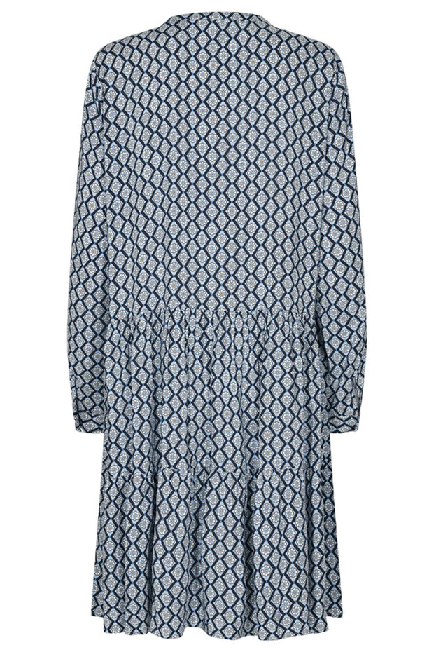 Adney LS Dress Mosaic | Navy Blazer | Kjole med print fra Freequent