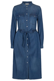 Fia Long Dress | Medium blue | Denim skjorte kjole fra Freequent