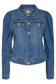 Rock Jacket Puff | Medium Blue | Denim jakke fra Freequent
