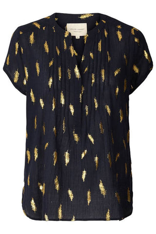 Heather shirt 17363 navy top med guld print fra Lollys Laundry