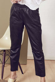 Shiloh Crop Leather Pant | Black | Læder bukser fra Co'Couture