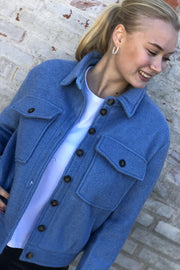 Rosalie Wool Coat | Sky Blue | Kort uld jakke fra Co'Couture
