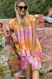 Sunrise Crop Tie Dye Dress | Pink & Orange | Kjole fra Co'Couture