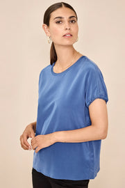 Ingi Silk Blouse | Bel Air Blue | Bluse fra Mos Mosh