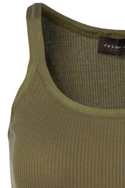 Silk Top Regular | Military Olive | Silke top fra Rosemunde