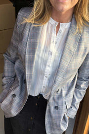 Holly Check Blazer | Mid Grey | Ternet blazer fra Co'Couture